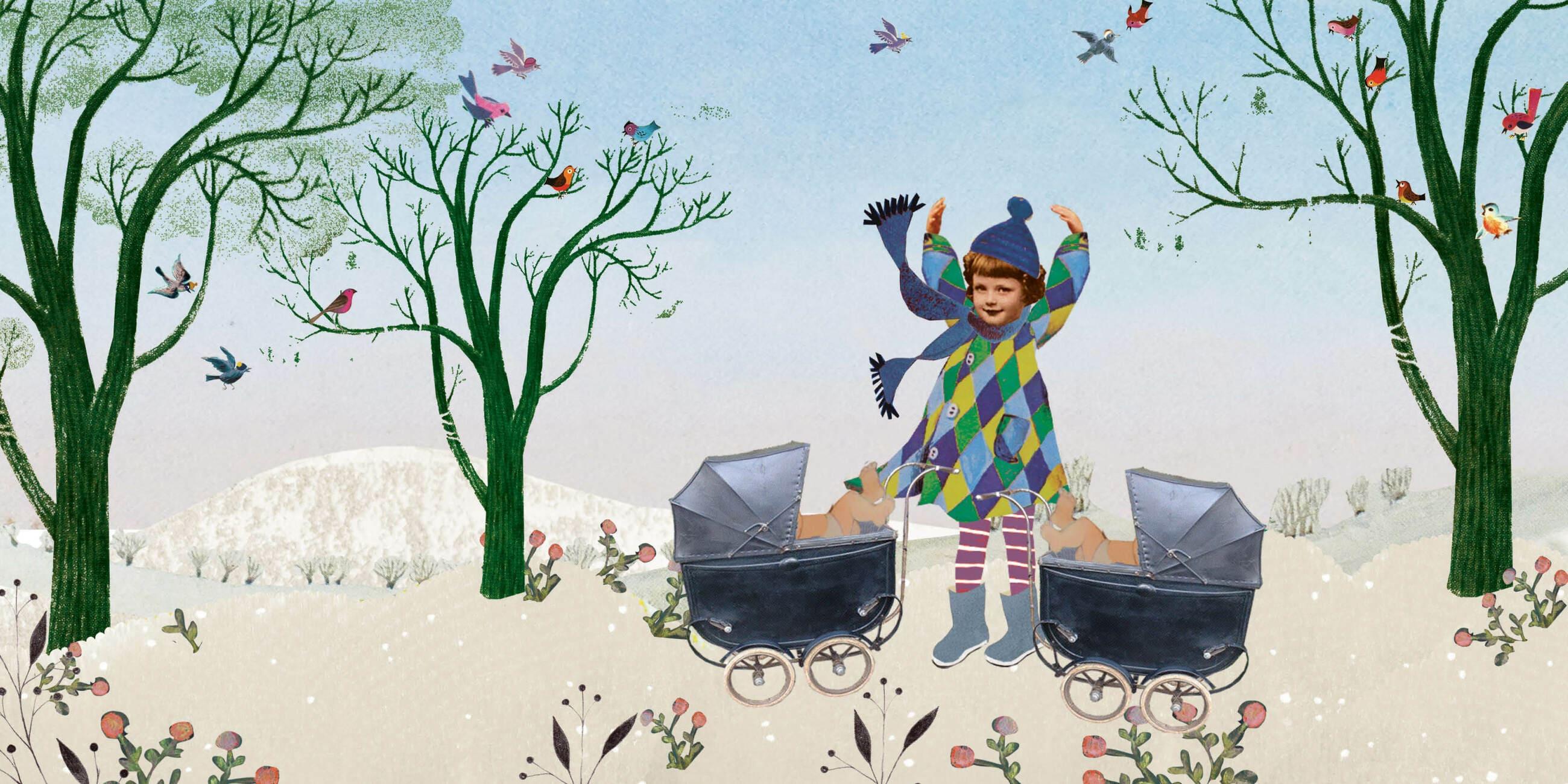 Geboortekaartje aankondiging announcement birth kaartje birthcard card baby babycard Origineel uniek feest vintage retro poesie nostalgie gezellig vrolijk kleurrijk stoer schattig nostalgisch fantasie creatief art kunst illustratie illustration gouden boekje kijkplaat zoekprent zoekplaat zoekboek kinderboek festival reizen gepersonaliseerd Bloemen dieren broer zus kindje meisje jongen genderneutraal gender neutraal cultuur huidskleur zwart donker Turks Chinees halfbloed Marokkaans Surinaams Antilliaans grote broer grote zus kinderwagen wagentje wiegje stroller Pram wandelwagen bos natuur vrolijk grappig fantasie winter sneeuw tuin buiten meerling tweeling twin drieling