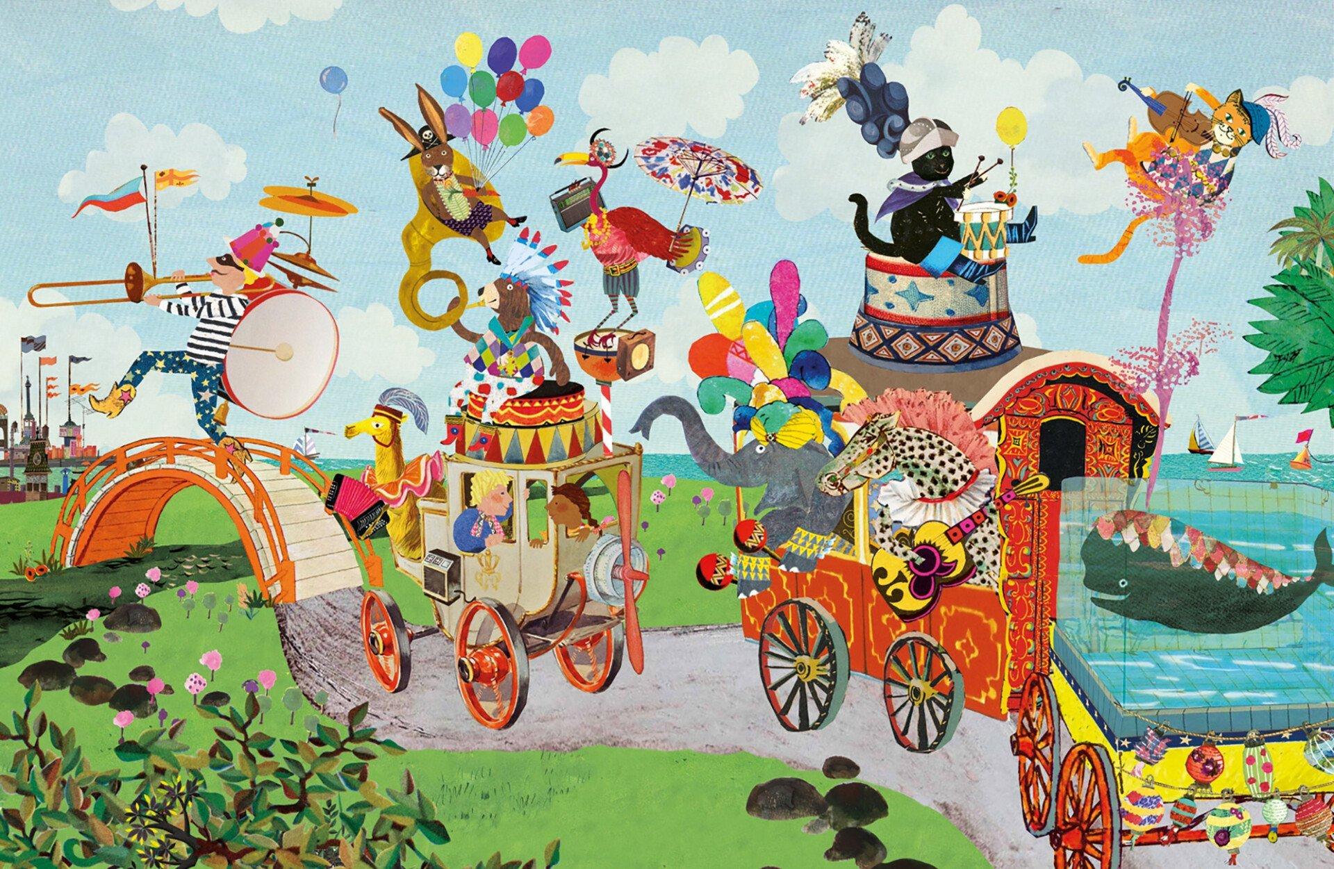 Collage illustratie illustration collegeart rotterdam redactioneel helder ervaren illustrator professioneel eigen stijl eigenstijl vrolijk eigentijds hip vintage nostalgisch kleurrijk kinderboek prentenboek kijkboek zoekboek beer teddybeer dieren dief jongen meisje circus kleurrijk nostalgisch doodgewone dag dierendief dieren flamingo beer kinderboek zoekboek kijkboek