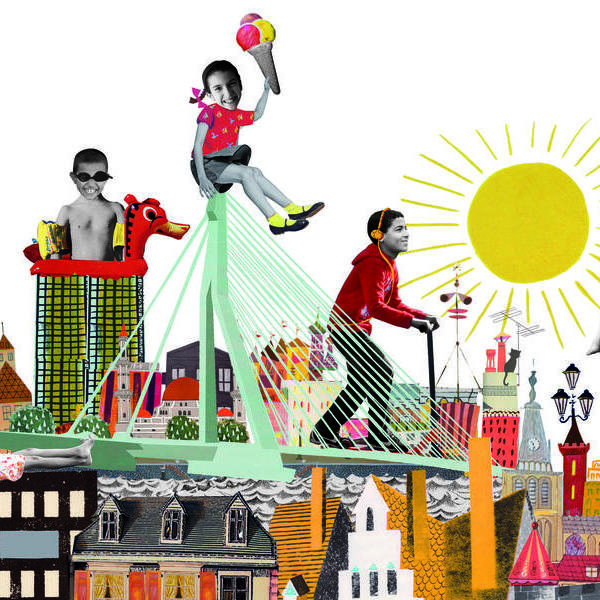 nieuwe nederlanders immigrant allochtoon vluchteling stichting rotterdam azc kinderen zomer pret vrolijk zomervakantie asielzoekers Collage illustratie illustration collegeart rotterdam redactioneel helder ervaren illustrator professioneel eigen stijl eigenstijl vrolijk eigentijds hip vintage nostalgisch kleurrijk
