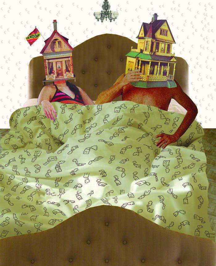 flair magazine illustratie collage editorial grootzus professioneel huis verkoop stress twee huizen te koop funda geld stress financien