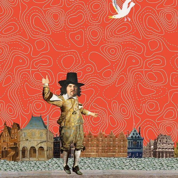 illustratie professioneel collage grootzuswereld op zak atlas, landkaart, globe, Blaauw, boerhaave, 18de eeuw, animatie, educatie, boerhaave, museum, film, geschiedenis, ontstaan, video, educatieve animatie, animatie in de klas lesboekje boerhaave rijksmuseum educatie in de klas