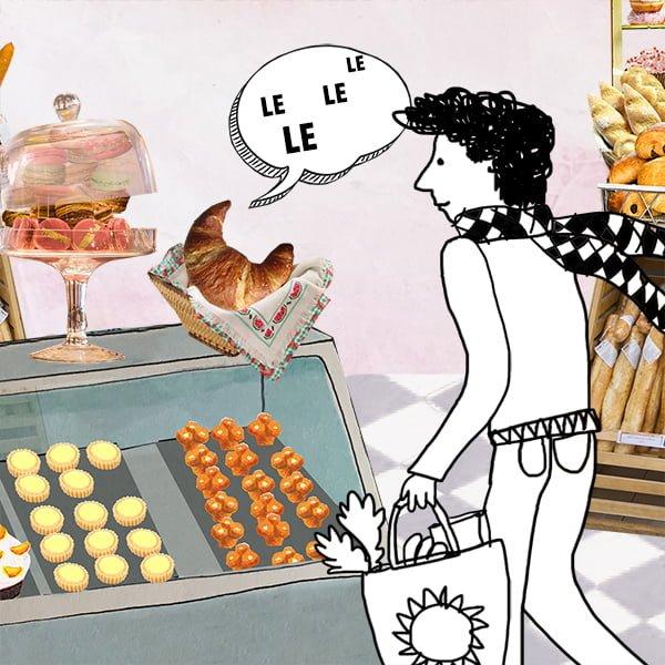 franse lidwoorden, educatie, franse les, middelbare school, vwo, havo, animatie, collage, boulangerie, bakkerij, croissant, collage