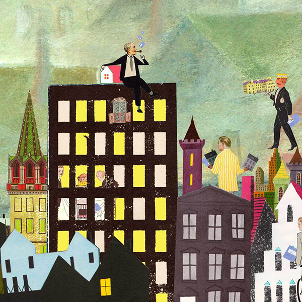 belastingdienst belasting betalen consument illustratie editorial consumentenbond collage stad wonen types mensen bewoners goede illustratie professioneel