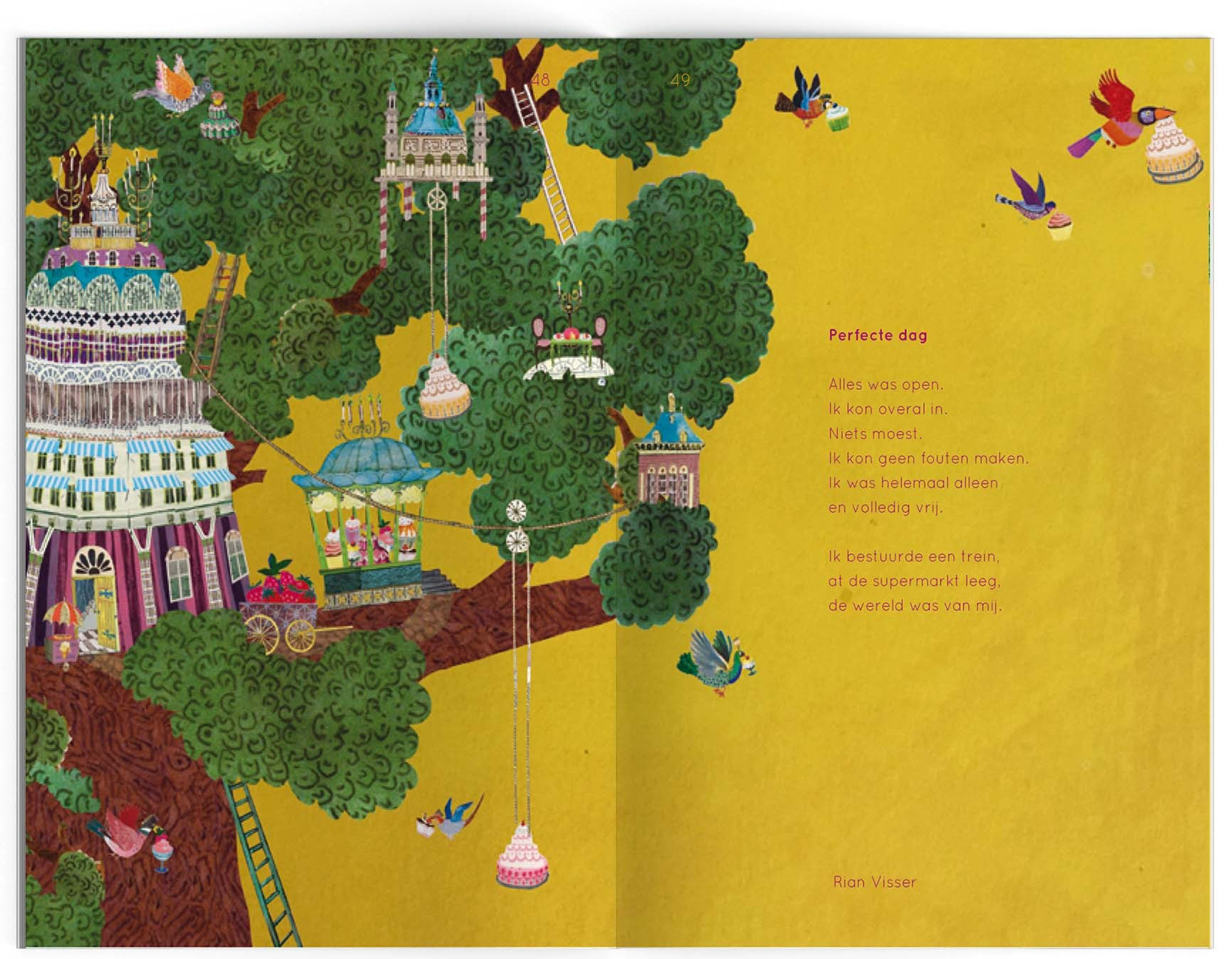 dichtbundel Nederlands stichting plint  illustratie collage poezen geel boomhut taartjes fantasie geluk Rian visser