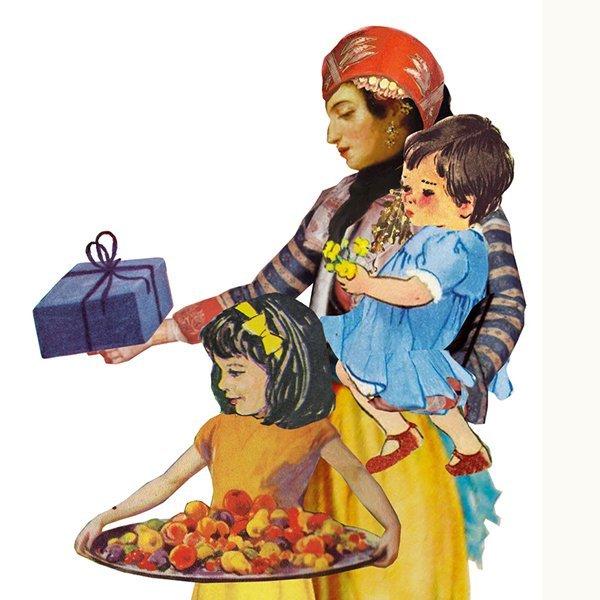 culturele achtergrond vrijgevig gastvrij Marokkaans Turks Israelisch eten gasten andere culturen nieuwe nederlanders hoofddoek islam moskee islamitsch moslim Arabisch illustratie professioneel editorial collage magazine tijdschrift