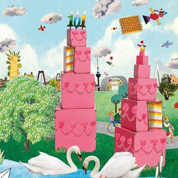 montessori maria montessori roze toren bruine trap jubileum schoolkrant magazine montessori materiaal illustraties grootzus collages feest taart taartpunt vieren