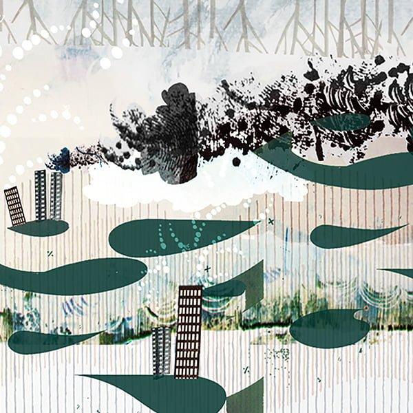 geur odour ontwikkeling onderzoek geur vangen aanpassen industrie omgeving milieu stank illustratie editorial professioneel collage illustratie grootzus
