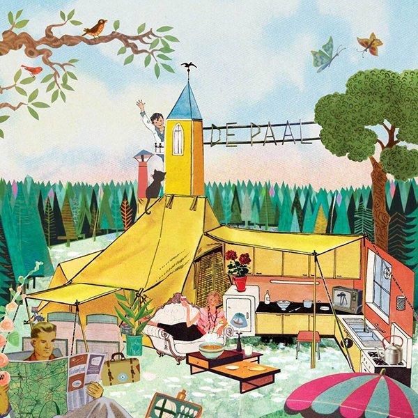 ANWB wegenwacht kampioen magazine vakantie kamperen Glamping groene camping natuurcamping charmecamping charme sfeer illustratie professioneel editorial grootzus collage