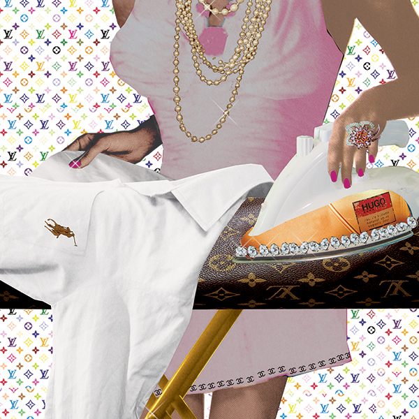 golddigger Hugo boss yves saint laurent Ralph Lauren polo bling goud rich geld money illustratie parfum diamanten editorial professioneel collage golddigger