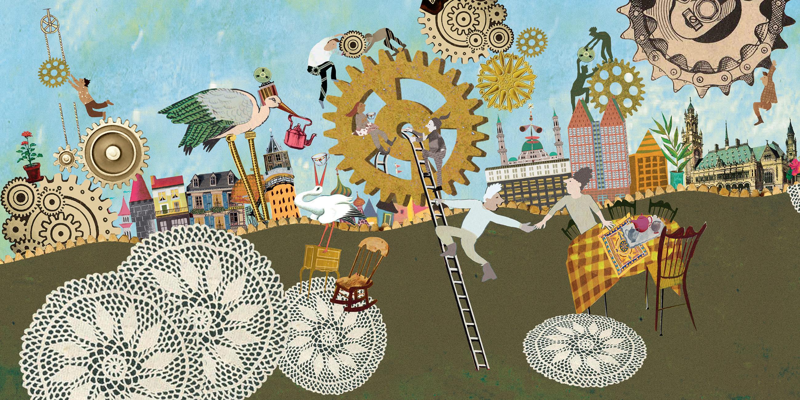 Haagse huiskamer den haag illustratie collage grootzus promo professioneel promotie vluchteling integratie samenleving platform stad ooievaar thee