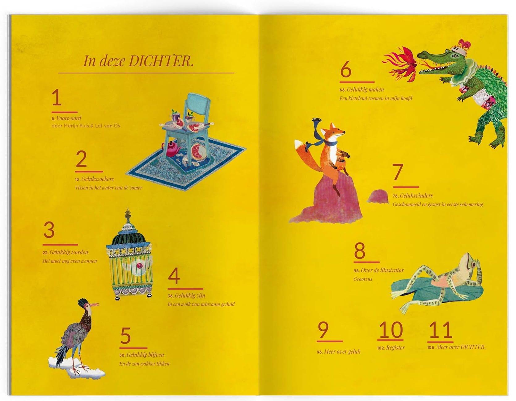 dichtbundel geluk Nederlands stichting plint  illustratie collage index inhoud