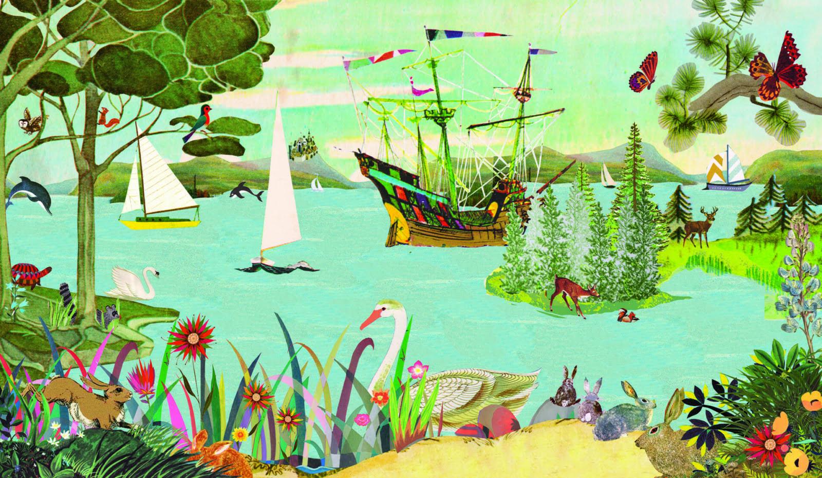 stokke tripp Trapp grootzus ridders bootjes zeilboten bloemen meer rivier zee natuur stijl illustratie collage dieren mooi sfeervol nostalgisch nostalgie vogels bomen natuur insecten beestjes actie win actie eenmalig one of a kind collectors item