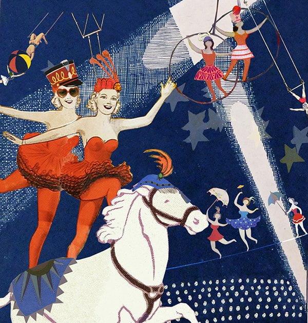 oh marie circus trapeze dressuur voltige circus circustent illustratie collage professioneel