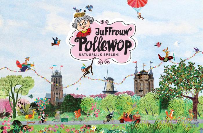 villa augustus Dordrecht Pollewop kinderwinkel winkel collage winkelruit origineel illustratie Grootzus juffrouw Pollewop gezellig kleurrijk origineel