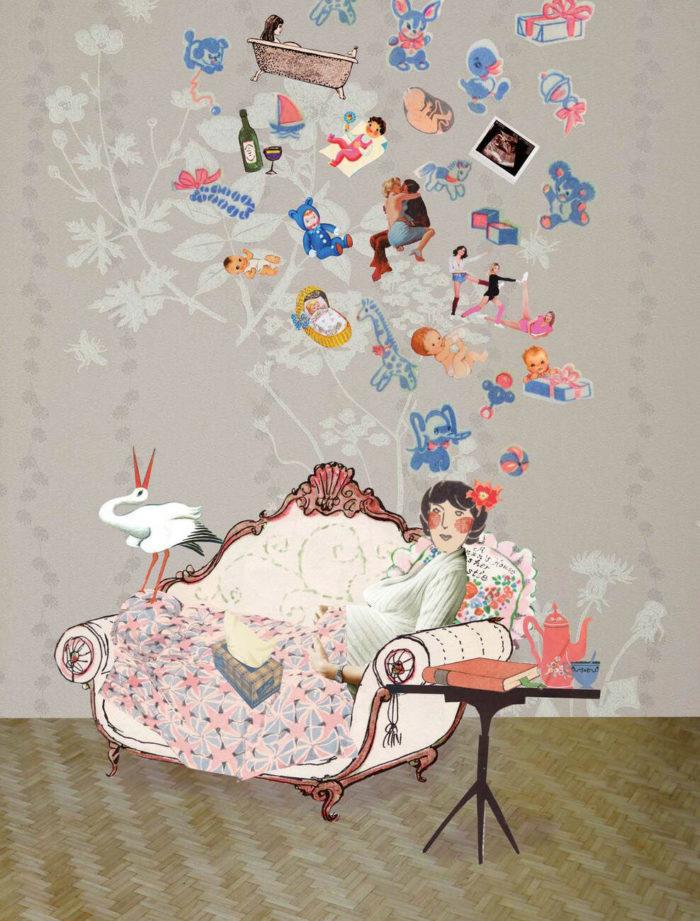 kinderen tijdschrift ouderschap magazine illustratie grootzus collage editorial professioneel vermoeidheid baby jonge ouders slaaptekort kraamtijd vader vaderschap kraamtranen roze wolk postnatale depressie moeder roze wolk geluk kraamtijd