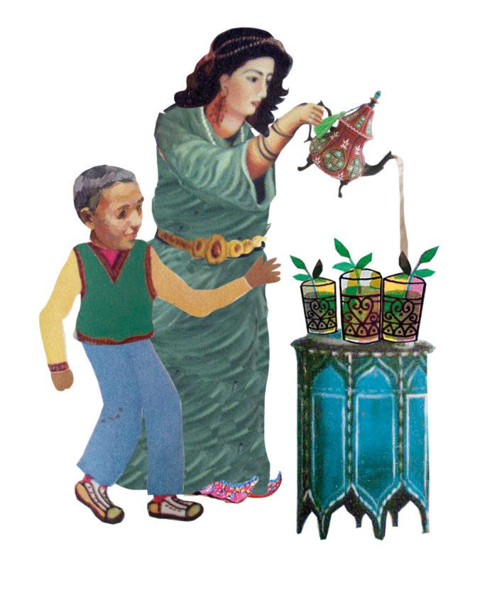 culturele achtergrond vrijgevig gastvrij Marokkaans Turks Israelisch eten gasten andere culturen nieuwe nederlanders hoofddoek islam moskee islamitsch moslim Arabisch illustratie professioneel editorial collage magazine tijdschrift thee theeschinken munt thee schenken marokkaans