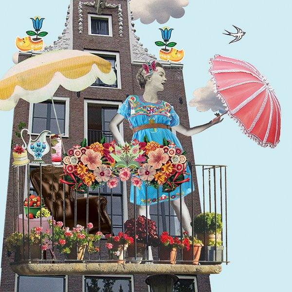 flair magazine illustratie collage editorial grootzus professioneel amsterdam grachtenpand vakantie thuis balkon tuin