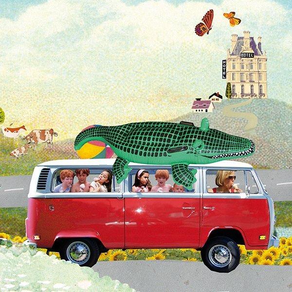 dirk van den broek vakantie zomervakantie route du soleil onderweg wegrestaurants picknick inpakken boodschappen illustratie dirk van den broek magazine grootzus illustratie collage professioneel editorial