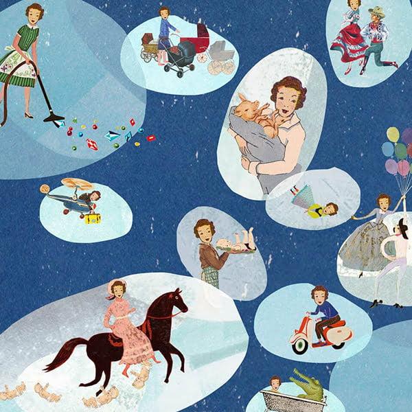 kinderen tijdschrift ouderschap magazine illustratie grootzus collage editorial professioneel verboden dromen zwangerschap rare dromen nachtmerrie fantasieën vreselijke dromen rare dromen