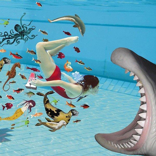 zwemles zwemgat zwem angst watervrees ABC diploma zwemdiploma Hippo zwembad chloor schoolzwemmen zwem gat onderwater zwemmen bang JM voor ouders tijdschrift magazine weekbladpers dyslexie illustratie collage professioneel editorial illustrator