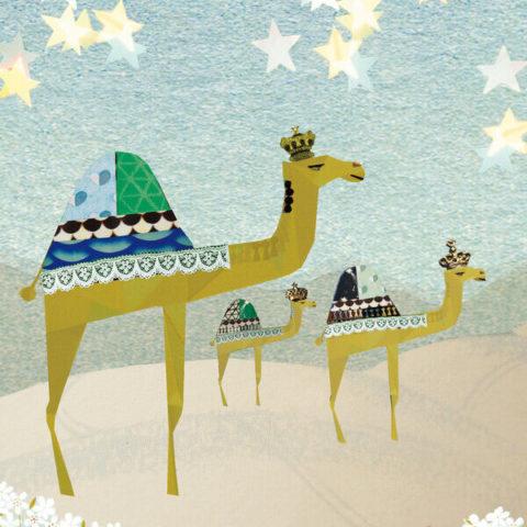 Driekoningen kerst kerstkaart wens kerstwens kaartje stuureenkaart joyeux novelle Merry Christmas kamelen drie koningen stal Jezus chiristus ster stal vintage retro romantisch nostalgisch vrolijk sfeervol kleurrijk wenskaart dubbele wenskaart inclusief enveloppe