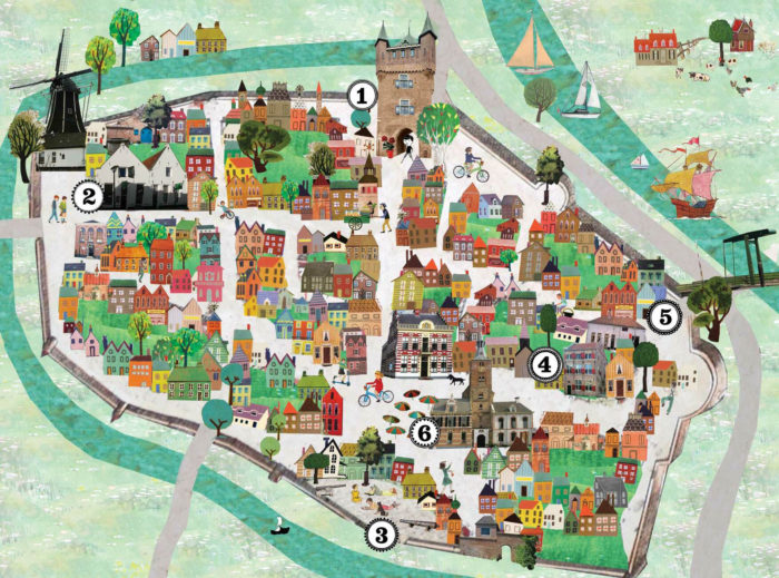 plattegrond, kaart, infographic, maps, map, collage vintage, kleurrijk, Hanzestad , route, wandelroute, stad, dorp, historisch, collage, illustratie, vrolijk, kleurrijk, tekening, nostalgisch